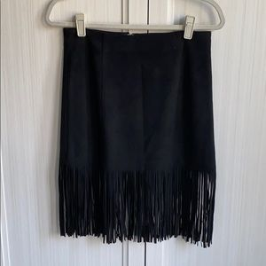 Suede black with tassel- mini skirt